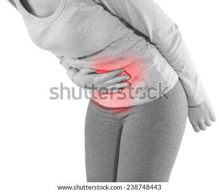 Woman with both palm around waistline to show pain and injury on belly area. Medical health care concept. - stock photo