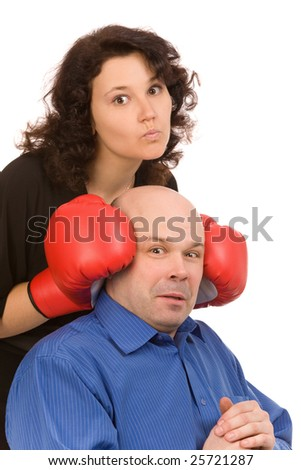 woman with boxing gloves and man on a white background - stock photo