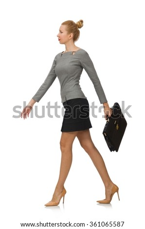 Woman  with briefcase isolated on white - stock photo