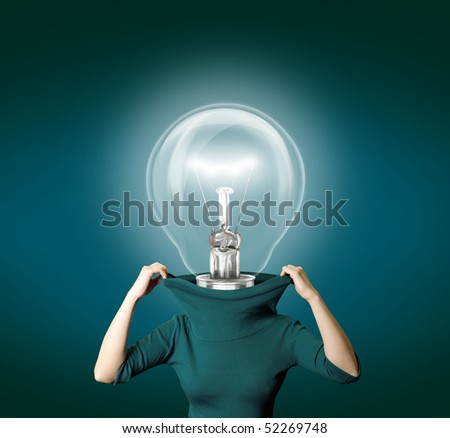 woman with bulb head isolated on different backgrounds with reflections - stock photo