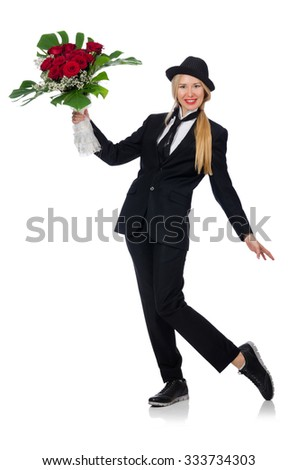 Woman with bunch of roses isolated on white - stock photo