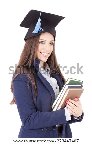 woman with cap and books - stock photo