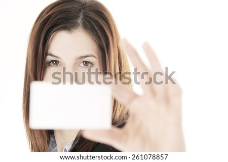 woman with card - stock photo