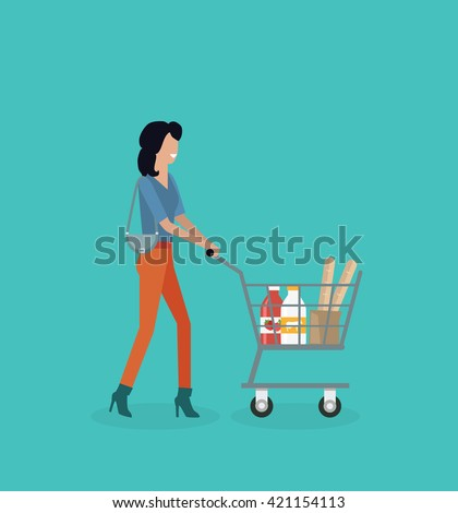 Woman with cart purchases design. Shop cart customer woman buy purchase, trolley with purchase, consumer with goods, food product in cart, buyer woman, shopper  illustration - stock photo