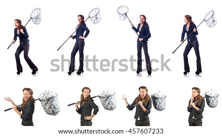 Woman with catching net and papers - stock photo