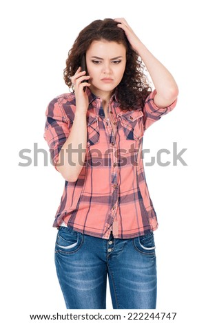 Woman with cellular telephone - stock photo