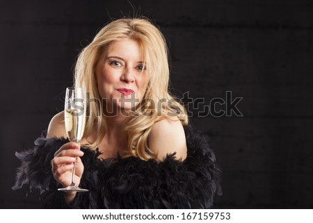 woman with champagne  - stock photo