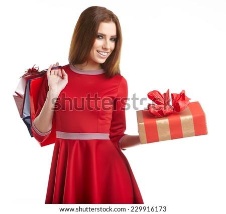 Woman with Christmas gift  - stock photo