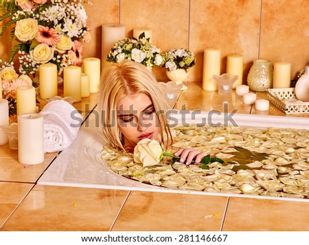 Woman with close up relaxing at water spa. - stock photo