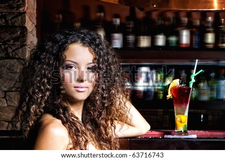 woman with coctail - stock photo