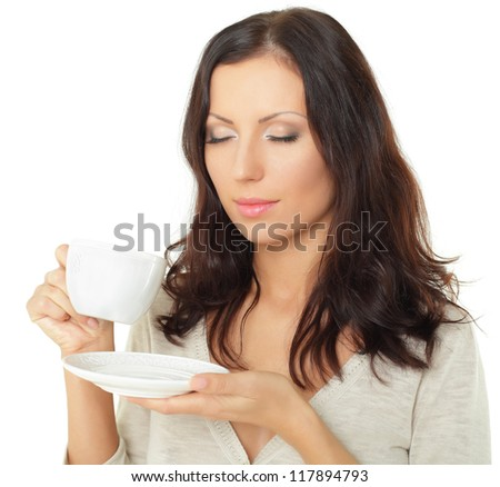 Woman with coffee cup isolated - stock photo