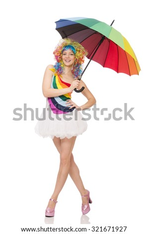 Woman with colorful umbrella on white - stock photo