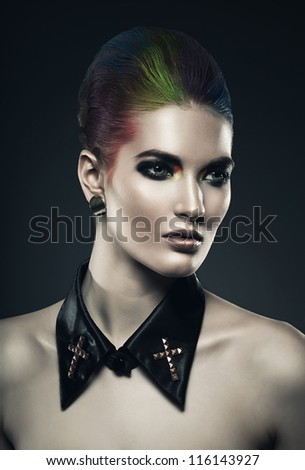 woman with coloured hair - stock photo