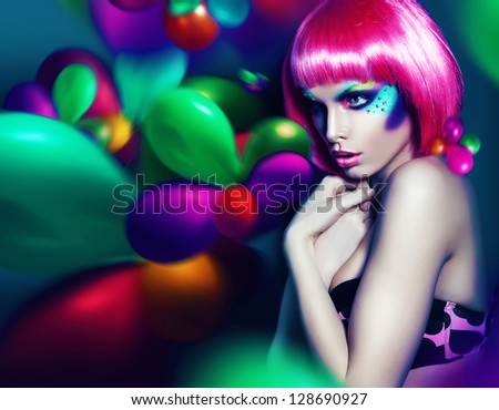 woman with colourful make-up and balloons - stock photo
