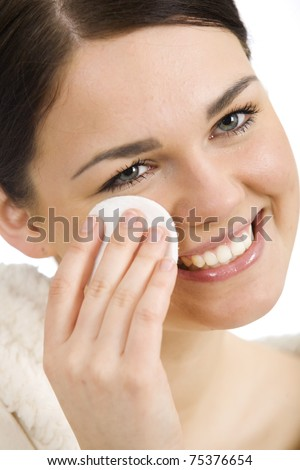 Woman with cotton pads - stock photo
