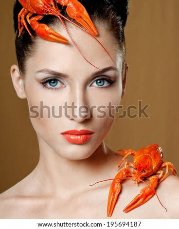 Woman with decoration of cancer - stock photo