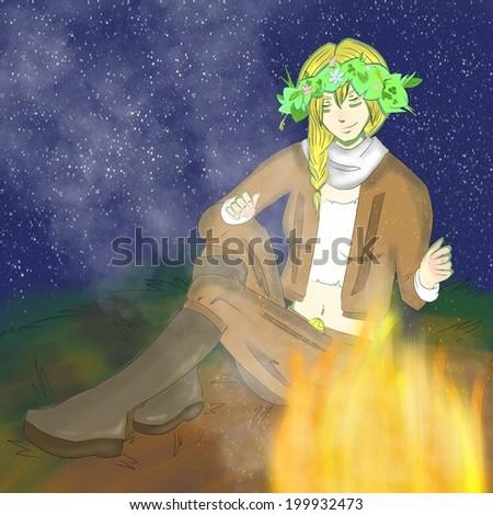 Woman with diadem makes a halt near fireplace. Illustration.  - stock photo