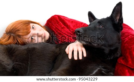 woman with dog - stock photo