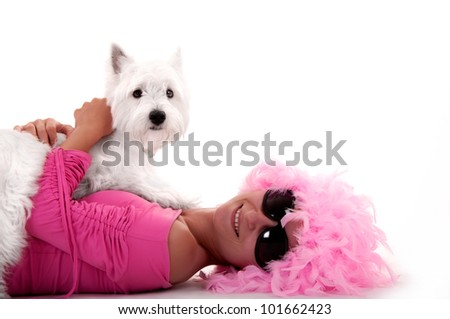 Woman with dog on the white background - stock photo