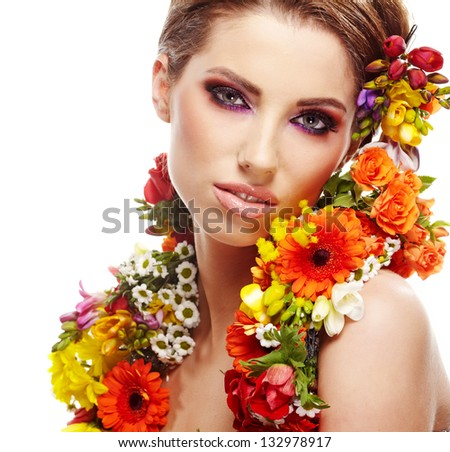 Woman with flower hairstyle - stock photo