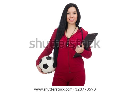 Woman with football isolated on white - stock photo