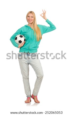 Woman with football on white - stock photo