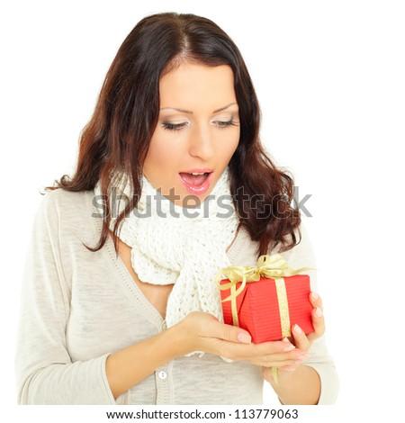Woman with gift - fun! - stock photo