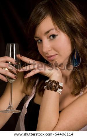 Woman with glass of Champagne - stock photo
