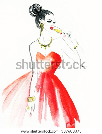 Woman with glass of champagne. Christmas and New Year holiday celebration. Watercolor illustration - stock photo