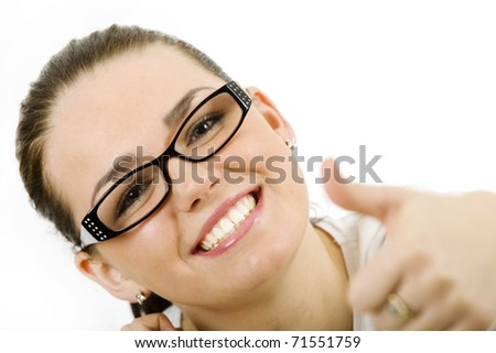 Woman with glasses - stock photo