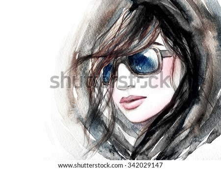 Woman with glasses.watercolor fashion illustration  - stock photo