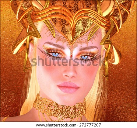 Woman with gold crown, necklace, eye makeup and matching abstract gold background.  This fantasy, digital art scene depicts the spirit of the golden ram and man's lust for gold as a seductive woman. - stock photo