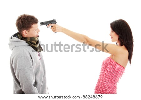 Woman with gun overpowered thug, isolated on white - stock photo