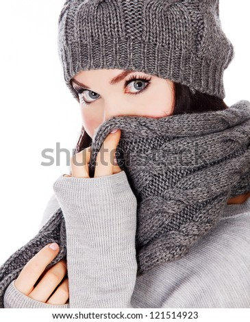 woman with hat and scarf, white background - stock photo
