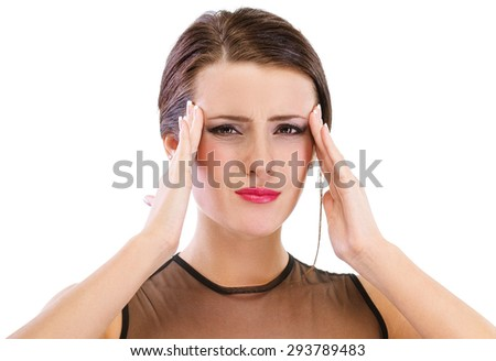 Woman with headache, isolated on white background. - stock photo