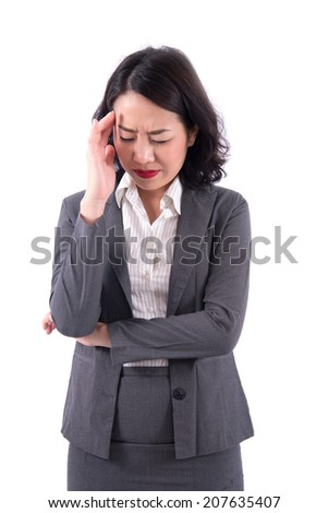 woman with headache, migraine, stress, hangover - stock photo