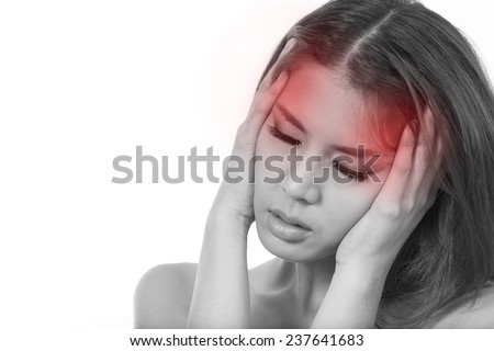 woman with headache, migraine, stress, hangover hand holding head with pain white isolated background - stock photo