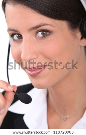 Woman with headset - stock photo