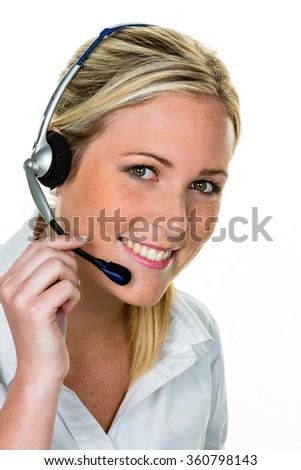 woman with headset in customer service - stock photo