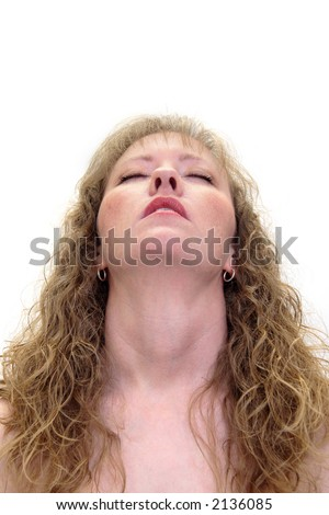 Woman with her head back an eyes closed.  Isolated on white - stock photo