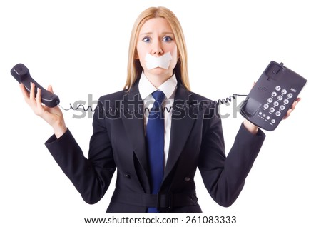 Woman with her mouth sealed isolated on white - stock photo