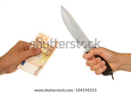 Woman with knife threatening a man to give money - stock photo