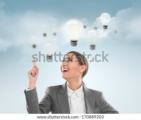 Woman with lamps overhead, idea concept on sky background - stock photo