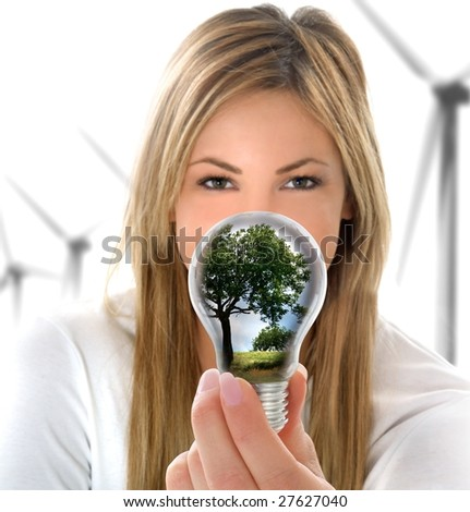 woman with Lightbulb - stock photo