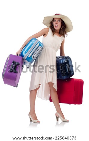 Woman with luggage isolated on the white - stock photo