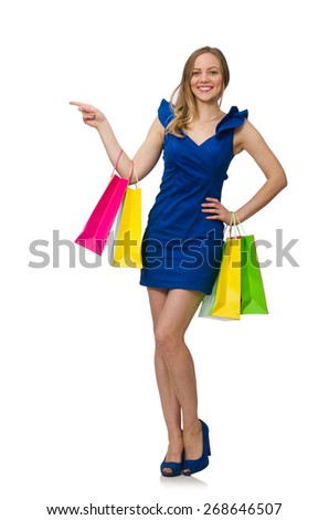 Woman with many shopping bags on white - stock photo
