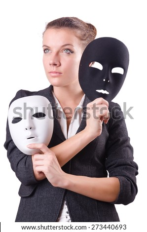 Woman with mask in hypocrisy concept - stock photo