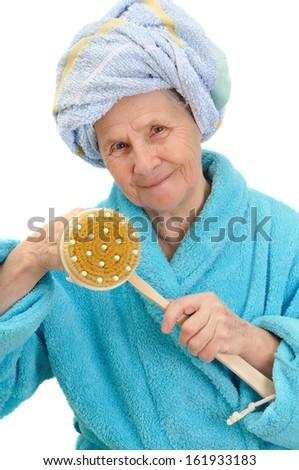 woman with massage sponge on white background  - stock photo