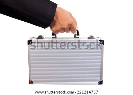 woman with metallic suitcase, isolated on white - stock photo