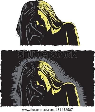 Woman with migraine - stock photo